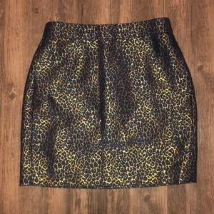 J. Crew Metallic Gold Leopard Print Skirt 00 EUC